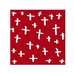 Red White Cross Small Satin Scarf (square) by snowwhitegirl