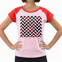 Zigzag Chevron Pattern Green Red Women s Cap Sleeve T Shirt by snowwhitegirl