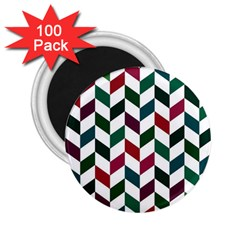 Zigzag Chevron Pattern Green Red 2 25  Magnets (100 Pack)  by snowwhitegirl