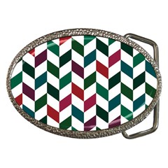 Zigzag Chevron Pattern Green Red Belt Buckles