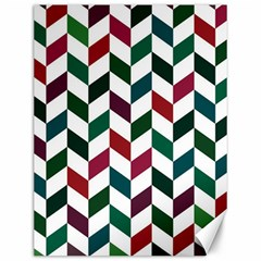 Zigzag Chevron Pattern Green Red Canvas 12  X 16   by snowwhitegirl