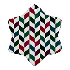 Zigzag Chevron Pattern Green Red Snowflake Ornament (two Sides) by snowwhitegirl