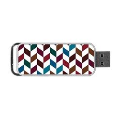Zigzag Chevron Pattern Blue Brown Portable Usb Flash (two Sides) by snowwhitegirl