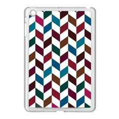 Zigzag Chevron Pattern Blue Brown Apple Ipad Mini Case (white)