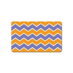 Zigzag Chevron Pattern Blue Orange Magnet (name Card) by snowwhitegirl