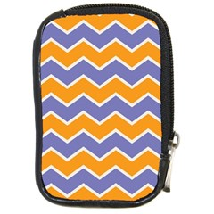 Zigzag Chevron Pattern Blue Orange Compact Camera Leather Case by snowwhitegirl