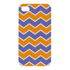 Zigzag Chevron Pattern Blue Orange Apple Iphone 4/4s Hardshell Case by snowwhitegirl