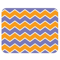 Zigzag Chevron Pattern Blue Orange Double Sided Flano Blanket (medium)  by snowwhitegirl