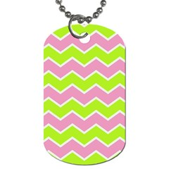 Zigzag Chevron Pattern Green Pink Dog Tag (one Side) by snowwhitegirl
