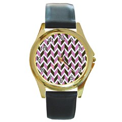 Zigzag Chevron Pattern Pink Brown Round Gold Metal Watch by snowwhitegirl