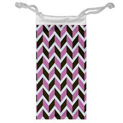 Zigzag Chevron Pattern Pink Brown Jewelry Bags by snowwhitegirl