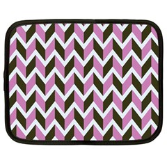 Zigzag Chevron Pattern Pink Brown Netbook Case (large) by snowwhitegirl