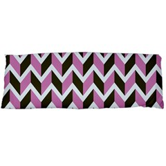 Zigzag Chevron Pattern Pink Brown Body Pillow Case (dakimakura) by snowwhitegirl