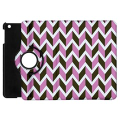 Zigzag Chevron Pattern Pink Brown Apple Ipad Mini Flip 360 Case by snowwhitegirl