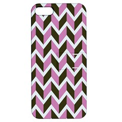 Zigzag Chevron Pattern Pink Brown Apple Iphone 5 Hardshell Case With Stand by snowwhitegirl