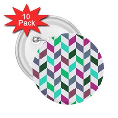 Zigzag Chevron Pattern Aqua Purple 2 25  Buttons (10 Pack)