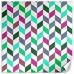 Zigzag Chevron Pattern Aqua Purple Canvas 16  X 16   by snowwhitegirl