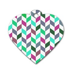 Zigzag Chevron Pattern Aqua Purple Dog Tag Heart (one Side) by snowwhitegirl