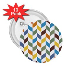 Zigzag Chevron Pattern Orange Blue 2 25  Buttons (10 Pack)  by snowwhitegirl