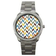 Zigzag Chevron Pattern Orange Blue Sport Metal Watch by snowwhitegirl