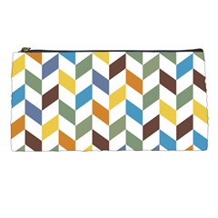 Zigzag Chevron Pattern Orange Blue Pencil Cases by snowwhitegirl