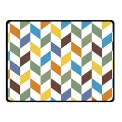 Zigzag Chevron Pattern Orange Blue Fleece Blanket (small) by snowwhitegirl