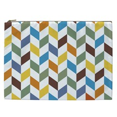Zigzag Chevron Pattern Orange Blue Cosmetic Bag (xxl) by snowwhitegirl