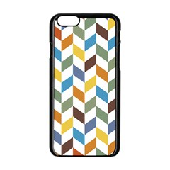 Zigzag Chevron Pattern Orange Blue Apple Iphone 6/6s Black Enamel Case by snowwhitegirl