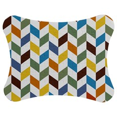 Zigzag Chevron Pattern Orange Blue Jigsaw Puzzle Photo Stand (bow) by snowwhitegirl