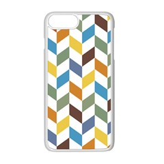 Zigzag Chevron Pattern Orange Blue Apple Iphone 8 Plus Seamless Case (white) by snowwhitegirl