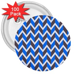 Zigzag Chevron Pattern Blue Grey 3  Buttons (100 Pack)  by snowwhitegirl