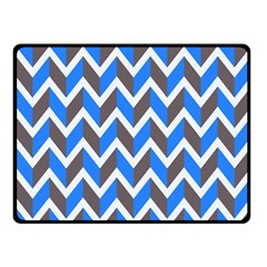 Zigzag Chevron Pattern Blue Grey Fleece Blanket (small) by snowwhitegirl