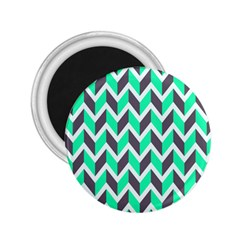 Zigzag Chevron Pattern Green Grey 2 25  Magnets by snowwhitegirl