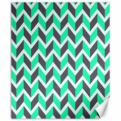 Zigzag Chevron Pattern Green Grey Canvas 20  X 24   by snowwhitegirl