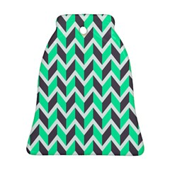 Zigzag Chevron Pattern Green Grey Ornament (bell)