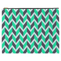 Zigzag Chevron Pattern Green Grey Cosmetic Bag (xxxl) by snowwhitegirl