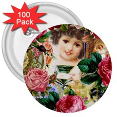 Little Girl Victorian Collage 3  Buttons (100 Pack)  by snowwhitegirl