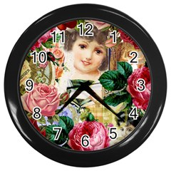 Little Girl Victorian Collage Wall Clock (black) by snowwhitegirl