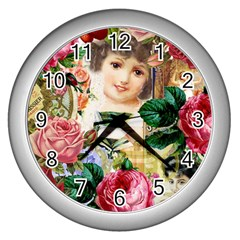 Little Girl Victorian Collage Wall Clock (silver) by snowwhitegirl