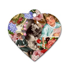 Victorian Collage Dog Tag Heart (two Sides) by snowwhitegirl