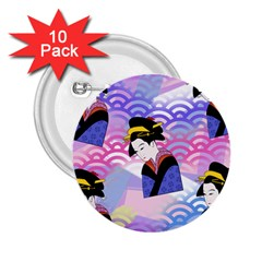Japanese Abstract Blue 2 25  Buttons (10 Pack)  by snowwhitegirl