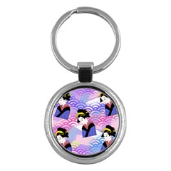 Japanese Abstract Blue Key Chains (round)  by snowwhitegirl