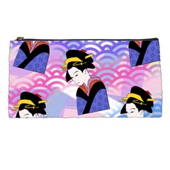 Japanese Abstract Blue Pencil Cases by snowwhitegirl