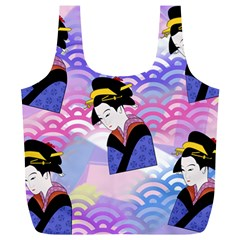 Japanese Abstract Blue Full Print Recycle Bag (xl) by snowwhitegirl