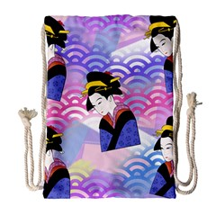 Japanese Abstract Blue Drawstring Bag (large) by snowwhitegirl