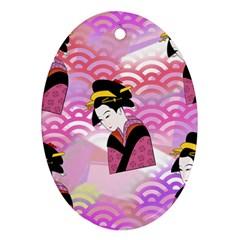 Japanese Abstract Pink Ornament (oval)