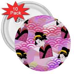 Japanese Abstract Pink 3  Buttons (10 Pack)