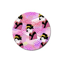 Japanese Abstract Pink Magnet 3  (round) by snowwhitegirl