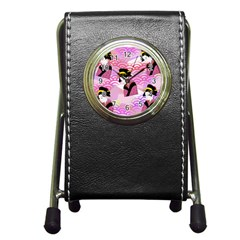 Japanese Abstract Pink Pen Holder Desk Clock by snowwhitegirl