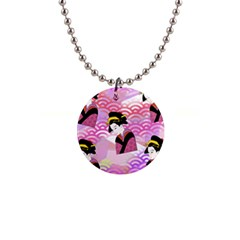 Japanese Abstract Pink Button Necklaces